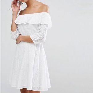 Asos PREMIUM broderie off shoulder dress